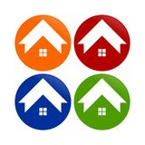 Simple House Shape Circle Round Icons. Vector Graphic Design Royalty Free Stock Photo