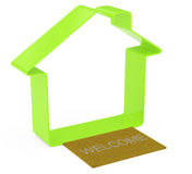 Simple house shape. On white. 3d rendered image Royalty Free Stock Images