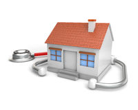 Simple house and stethoscope. Healt concept  white background Royalty Free Stock Photos