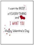 Simple I Want You Valentine Card Stock Photos