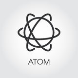 Simple icon of atom. Chemistry, science concept. Simple black icon of atom. Chemistry, physics, science concept. Pixel perfect 48x48 px. Linear logo for websites Stock Photography