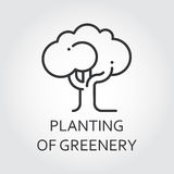 Simple icon black silhouette of single tree. Planting of greenery concept. Logo drawn in outline style. Simple black linear label. Image for your design needs Royalty Free Stock Images