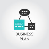 Simple icon of business plan scheme, vector label. In flat style for websites, mobile apps and other design needs. Black and green emblem Royalty Free Stock Images