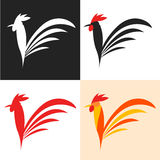 Simple icon of the cock. Symbol 2017 New Year. Rooster silhouette. Simple icon of the cock. Symbol 2017 New Year. The set of labels poultry. Design for poultry Stock Photo