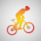 Simple icon cyclist, bike route sign in orange. Vector illustration Stock Images
