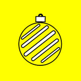 Simple icon with the image of black Christmas ball contour on a. Yellow background. Fashion illustration in a flat style Stock Photo
