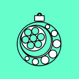 Simple icon with the image of a black contour Christmas ball on. A blue background. Fashion illustration in a flat style Royalty Free Stock Image