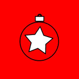 Simple icon with the image of a black contour Christmas ball on. A red background. Fashion illustration in a flat style Royalty Free Stock Image