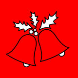 Simple icon with the image of a black contour Christmas bells. With holly on a red background. Fashion illustration in a flat style Stock Photos