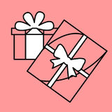 Simple icon with the image of a black contour gifts with white b. Ows on a pink background. Fashion illustration in a flat style Stock Images