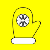 Simple icon with the image of a black contour gloves on a yellow. Background. Fashion illustration in a flat style Royalty Free Stock Image