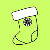 Simple icon with the image of a black sock circuit for gifts on. A green background. Fashion illustration in a flat style Stock Photography