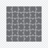 Simple icon puzzles in grey. Simple icon puzzle of the thirty six elements on transparent background. Stock vector. Flat design Stock Images