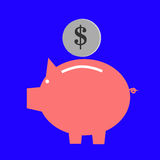 Simple ICon, Saving money at pig bank Stock Photo