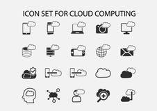 Simple  icon set of cloud computing symbols. Stock Images
