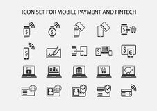Simple  icon set for mobile payment and electronic payment. Flat design icons for various payment processes for smart phones, smart watches and wearables Royalty Free Stock Images