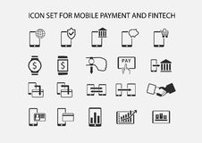 Simple  icon set for mobile payment and electronic payment. Flat design icons for various payment processes for smart phones, smart watches and wearables Royalty Free Stock Photos