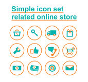 Simple icon set related online store Stock Photos