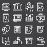 Simple icon set related to Money. Simple icon set related to Money on gray background Royalty Free Stock Photo