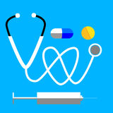 Simple Icon Stethoscope  and Pills Stock Photography