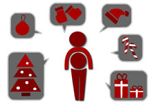 Simple icons for christmas time Royalty Free Stock Images