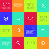 Simple icons on colorful square boxes Stock Photography