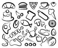 Simple icons of food Royalty Free Stock Photos