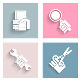 Simple icons with long shadow Royalty Free Stock Photo