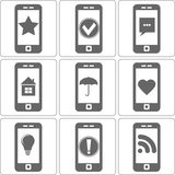 Simple Icons of Phones with Different Images, Stock Images