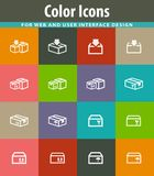 Simple icons set of box Royalty Free Stock Photography