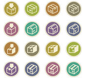 Simple icons set of box Stock Photography
