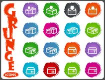 Simple icons set of box Royalty Free Stock Photos