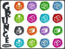 Simple icons set of box Stock Photos