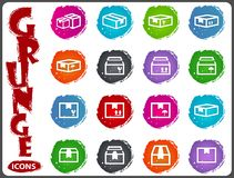 Simple icons set of box Royalty Free Stock Image