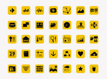 Simple icons set Vector for design. Simple Icon Set with yellow color Vector Stock Image