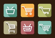 Shopping cart and basket icons Royalty Free Stock Images