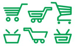 Shopping cart and basket icons Stock Photo