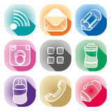 Simple icons. Simply icons of smartphone application Stock Photo