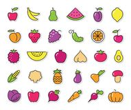 Simple icons of vegetables and fruit. Vector stickers Stock Photography