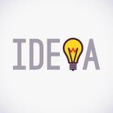 Simple Idea concept design with lamp icon, Logo Stock Image
