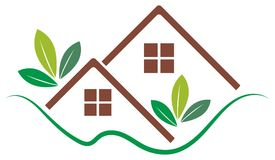 Real estate logo with eco home concept Royalty Free Stock Images