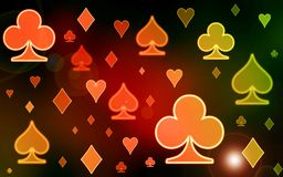 Simple illustration background. Color blurred pattern of symbols of playing cards Royalty Free Stock Photography