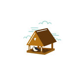 Simple illustration of birdhouse with bird in flat style. Vector. Royalty Free Stock Photography
