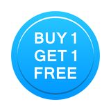 Buy one get one free button. Simple illustration of buy one get one free blue button icon on white background vector illustration