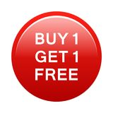 Buy one get one free button. Simple illustration of buy one get one free button icon on white background vector illustration