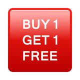 Buy one get one free button. Simple illustration of buy one get one free button icon on white background stock illustration