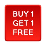 Buy one get one free button. Simple illustration of buy one get one free button icon on white background royalty free illustration