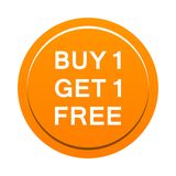Buy one get one free button. Simple illustration of buy one get one free orange button icon on white background stock illustration