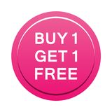 Buy one get one free button. Simple illustration of buy one get one free pink button icon on white background stock illustration