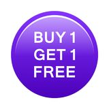 Buy one get one free button. Simple illustration of buy one get one free purple button icon on white background royalty free illustration